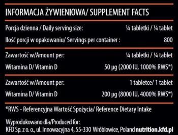 KFD Vitamin D3 8000IU - 200 tabs.