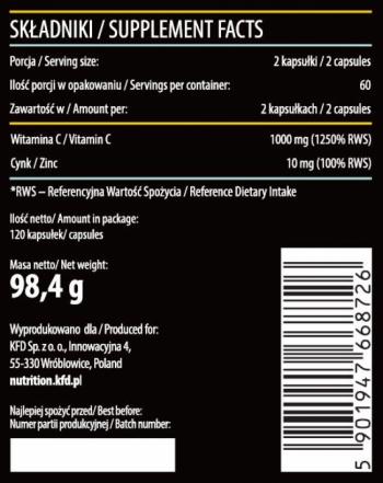 KFD VITAMIN C + ZINC 120 CAPS.