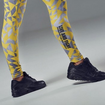 Live & Fight LEGINSY DAMSKIE - WOMEN'S LEGGINGS - TEMPO Gray&Yellow