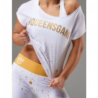 Live & Fight Women's RAG TOP FANCY white&gold