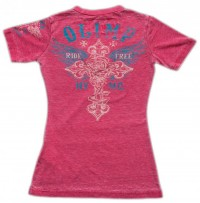 Live & Fight T-Shirt RIDE FREE Pink