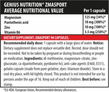 Genius Nutrition ZMA SPORT 90caps